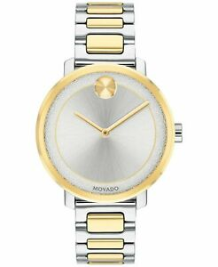 New Movado Bold Two-Tone Stainless Steel Bracelet Women's Watch 3600519