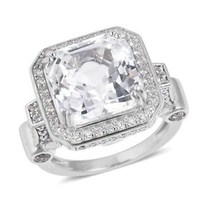 Halo Ring 925 Sterling Silver Octagon White Topaz Gift Jewelry for Women