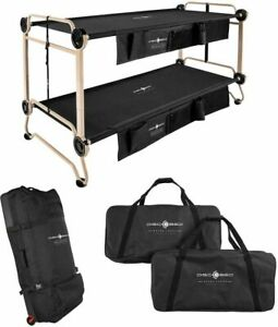 Disc-O-Bed Cam-O-Bunk XL Portable Cot Bundle Camping Hiking Spare Bed Black