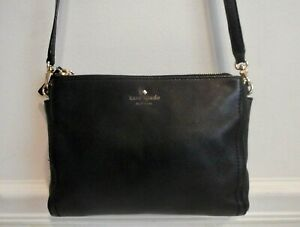 Kate Spade New York Black Genuine Leather Triple Compartment Cross Body Bag
