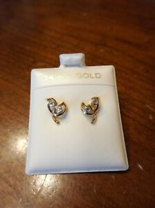 Vintage 14k Yellow Gold Diamond Leaf Stud Earrings (681)