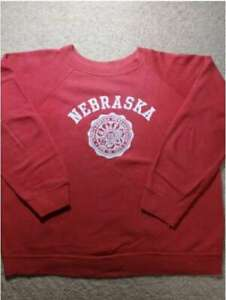 70s ARTEX Men's Sweatshirt Nebraska University Logo Print Vintage Tops Size L