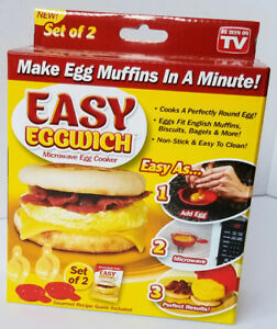 Eggwich - Easy Microwave Egg Cooker  Set of 2 New As Seen on TV