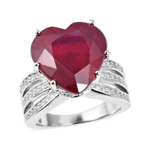 Fissure Filled Ruby White Zircon Heart Engagement Ring Silver Ct 13.85