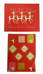 The Gift Wrap Company Small Boxed Holiday Cards with Seals Reindeer Chorus Line $11.99