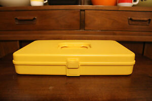 Golden Yellow Sewing Case Wil Hold Wilson Mfg USA Holds 48 Spools 12 Bobbins $17.99