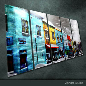 Original Modern Metal Wall Art Large Cityscape Indoor Outdoor Decor by Zenart
