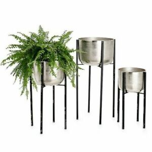 Torre & Tagus Basin Aluminum Standing Planters Set of 3