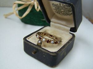 AMAZING VINTAGE 9CT 9K GOLD SEED PEARL GARNET FULL ETERNITY RING SIZE N 6.5 RARE