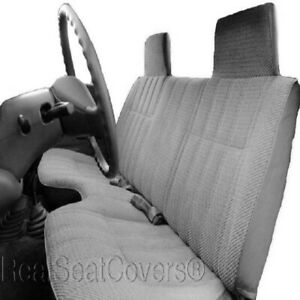 Triple Stitched Thick Gray Bench Seat Cover Large Notched Cushion Custom Fit