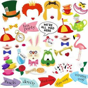 40pcs Alice In Wonderland Photo Booth Props, Tea Party Photo Prop for Kids Party