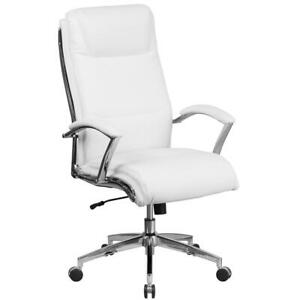 white officedesk chair  back high leather swivel designer executive with base