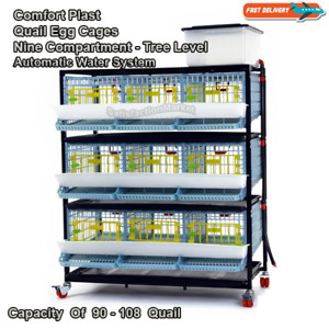 Triple Compartment - Triple Level Quail Egg & Farming Cage Patented Design