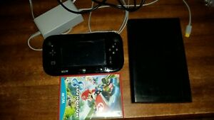 Nintendo Wii U Deluxe 32GB Black Console bundle w Mario kart 8 tested