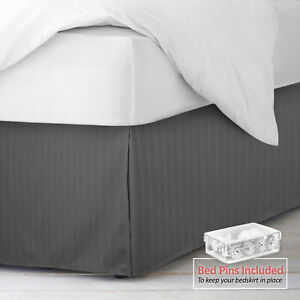 """Damask Stripe Bed Skirt Pleated Bed Skirt 14"""" Tailored Drop with Bed Skirt Pins $16.49"""