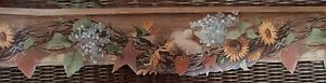 GRAPEVINE WITH FLOWERS WALLPAPER BORDER DIE CUT EDGE EARTH TONE COLORS $14.00