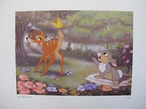 DISNEY BAMBI & THUMPER Offset Lithograph Art