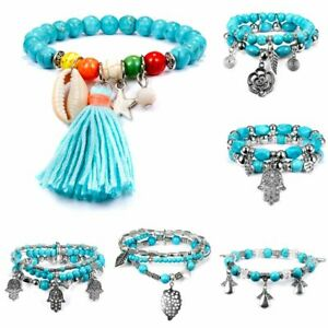 Retro Silver Shell Tassel Beaded Bracelet Turquoise Bangle Women Holiday Jewelry