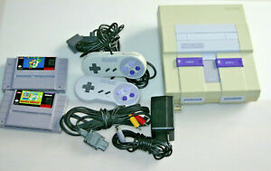 Super Nintendo SNES SNS-001 Console Bundle Lot W controllers & Mario Game!