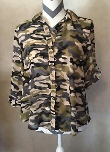 Medium Almost Famous Camouflage Women's 3 4 Or Short Sleeve Blouse Shirt Top