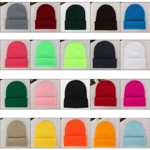 Unisex Solid Wool Knit Hat Autumn Winter Warm Couple Beanie Hedging Cap Hot