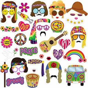 60s Photo Booth Props, 1960s Party Decorations Supplies for Groovy Party - 45pcs