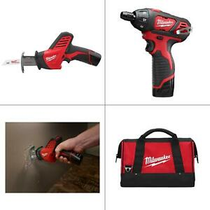 M12 12-Volt Lithium-Ion Cordless Screwdriver/HACKZALL Combo Kit (2-Tool) wi