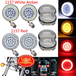 4x LED 1157 Bullet Style Turn Signals Light Inserts Bulb +Smoke Lens For Harley
