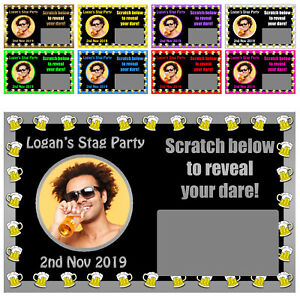10 x Personalised Stag Do BEER MUG DARE SCRATCH CARDS wt Photo Party Game Night