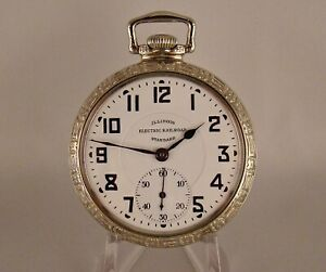 93 YEARS OLD ILLINOIS 17j 14k WHITE GOLD FILLED OPEN FACE 16s GREAT POCKET WATCH