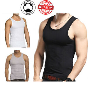 3 Pc Men 100% Cotton A Shirt Tank Top Ribbed Undershirt Wife Beater Black Muscle $10.89