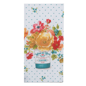 Flowers Kitchen Towel - Dual Purpose Flat Weave Front and Terry Cloth Back