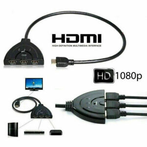 HDMI Switch 3 Port 4k Switcher Hub Splitter Pigtail Cable For DVD HDTV PS4 Xbox