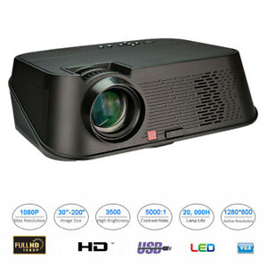 5.8'' Video Projector 3500 Lumens LCD 1080P Full-HD LED Portable Multimedia Home