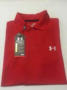 NWT UNDER ARMOR LOOSE HEAT GEAR GOLF SOLID POLO RED 600 SZ S_L $54.99