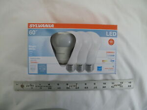 4 NEW Sylvania 60w LED A19 Light Bulbs Bright White 3500K Dimmable