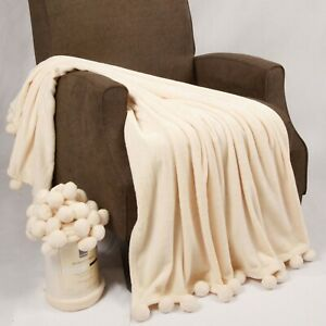 HST Decor Pompom Bed Couch Throw Blankets Coverlet Gift Wrapped 50
