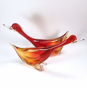 Pair of Large Red & Yellow Sommerso Murano Glass Ducks Likely Seguso 1950s Italy