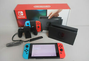 Nintendo Switch 32GB Gray Console with Neon Red and Neon Blue Joy-Con Dock