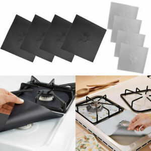 4/PCS Reusable Gas Range Stove Top Burner Protector Liner Cover For Cleaning