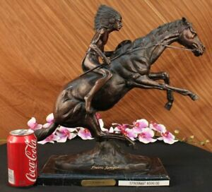Sculpture Warrior BY FREDERIC REMINGTON Bronze Marble Base Statue Figurine SALE