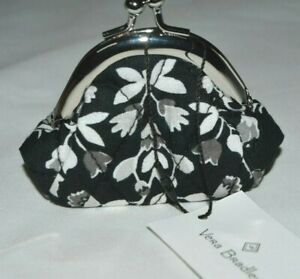 Vera Bradley Iconic Mini Kiss Lock Coin Purse in Chandelier Noir Floral New