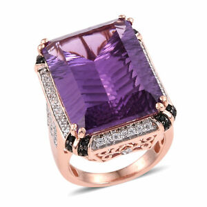 925 Sterling Silver Rose Gold Plated Amethyst Zircon Cocktail Ring Gift Size 7