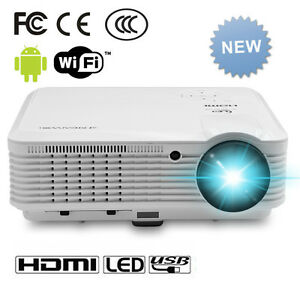 Wireless Online WIFI Home Projector 1080 HD Android Movie Beamer USB HDMI TV VGA