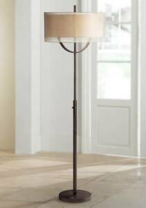 Mid Century Modern Floor Lamp Bronze Metal Double Shades for Living Room Reading