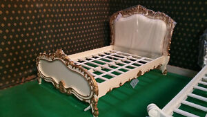 Double size Ivory Gold opulent look designer baroque french style mahogany bed