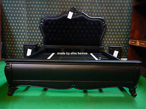 BESPOKE ~ 6' Super King Size Black Gothic mahogany designer French Baroque bed