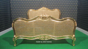 BESPOKE Sophisticated Gold LEAF RATTAN french furniture designer baroque bed