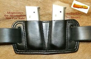 Leather Double MAG POUCH 45acp Single Stack magazine for COMPACT  1911's