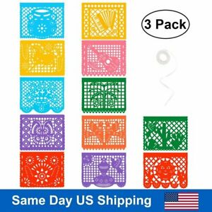 3 pack Mexican Banner Plastic Papel Picado Banner Large Fiesta Party Decor 24 Ft